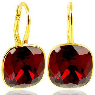 Ohrringe 925 Silber mit SWAROVSKI ELEMENTS Siam Rot Gold NOBEL SCHMUCK
