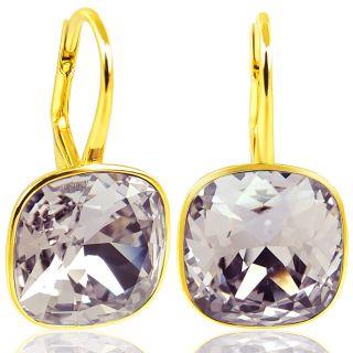 925 Silber Ohrringe mit Kristallen von Swarovski® Gold Mauve Violett NOBEL SCHMUCK
