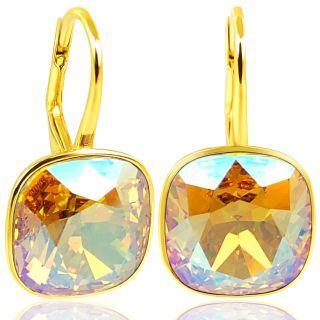 Ohrringe mit Kristalle von Swarovski® Light Colorado Topaz Shimmer 925 Gold NOBEL SCHMUCK