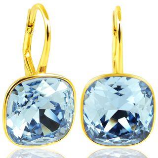 925 Goldohrringe mit Kristalle von Swarovski® Blau NOBEL SCHMUCK