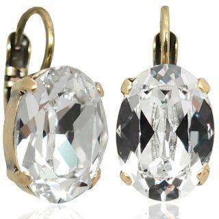 Damen  Ohrringe Kristall Gold Klappverschluss - kurze Ohrhänger mit Stein NOBEL SCHMUCK