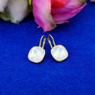 Nobel 925 Silber-Ohrringe 18 kt Gold Auflage EU Markenkristalle White Opal - kurze Ohrhänger