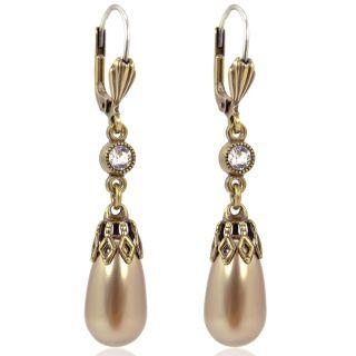 Nobel Perlen-Ohrringe Gold mit Markenkristallen aus Österreich Bronze Damen-Ohrhänger