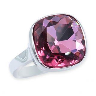 Ring Silber Pink Cocktailring mit großem Kristall NOBEL SCHMUCK