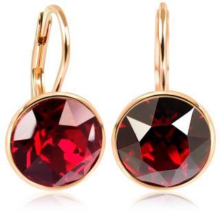 NOBEL SCHMUCK Ohrringe Rosegold Rot mit hochwertigen Kristallen 925 Sterling - schlicht modern