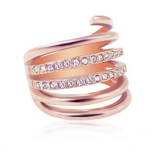 Ring Rosegold mit Kristallen Wickelring Wrap-Ring Rotgold NOBEL SCHMUCK