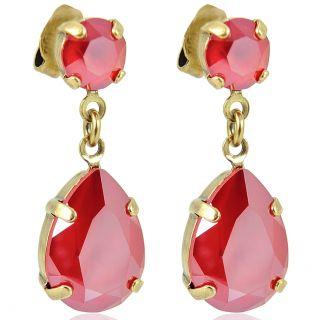 Nobel Ohrringe Gold mit Tropfenanhänger aus Swarovski® Kristallen Royal Red Shiney