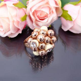 Ring Cocktailring Rosegold mit Kristallen Damen-Ring Rotgold