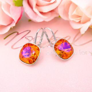 Nobel Ohrringe Silber 925 Astral Pink mit EU Markenkristallen - kurze Damen-Ohrhänger