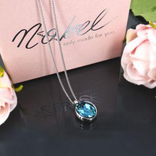 Damen-Kette Silber mit Kristallen von Swarovski® Verschiedene Farben NOBEL SCHMUCK