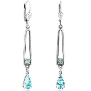 Jugendstil Ohrringe mit Kristallen von Swarovski® Silber Aquamarine NOBEL SCHMUCK