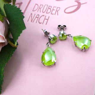 Silberne Ohrstecker Tropfen mit Kristallen von Swarovski® Crystal Lime Nobel Schmuck