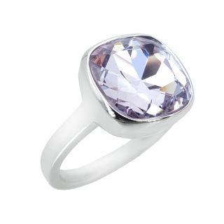 NOBEL SCHMUCK Damen-Ring Silber Violett Lila großer Kristall Cocktailring mit Stein