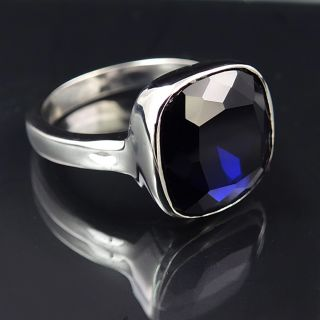 Ring Silber Blau Cocktailring mit Markenkristall NOBEL SCHMUCK