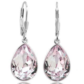 Ohrringe Silber mit Rosa Kristallen von Swarovski® Tropfen NOBEL SCHMUCK