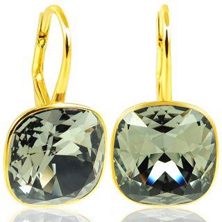 Ohrringe 925 Silber vergoldet mit Kristallen von Swarovski® Grau Gold NOBEL SCHMUCK