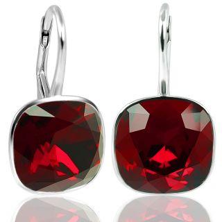 Silber Ohrringe mit Kristallen von Swarovski® Rot NOBEL SCHMUCK