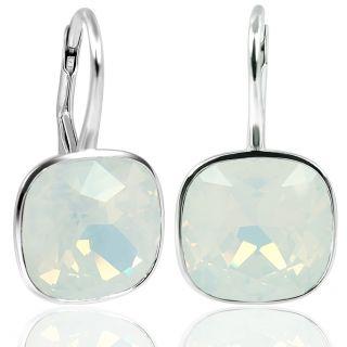 Ohrringe mit Kristallen von Swarovski® White Opal 925 Silber NOBEL SCHMUCK