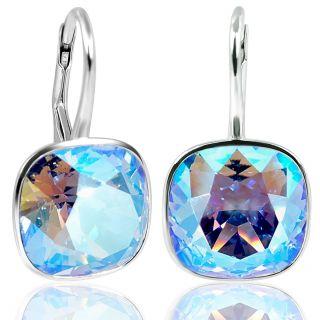 925 Silberohrringe Blau mit Kristalle von Swarovski® Light Sapphire Shine NOBEL SCHMUCK