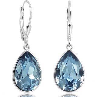 925 Silberohrringe Blau mit Kristallen von Swarovski® Tropfen NOBEL SCHMUCK…