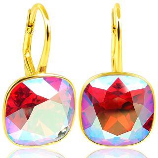 Nobel 925 Ohrringe Gold Pink Rot Markenkristalle - kurze Ohrhänger Light Siam Shimmer