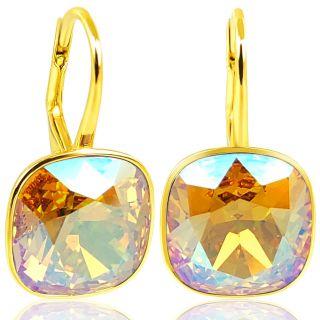 925 Goldohrringe mit Kristalle von Swarovski® Light Topaz Shimmer NOBEL SCHMUCK