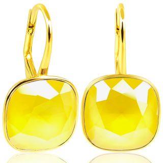 Gold Ohrringe 925 Silber mit Kristalle von Swarovski® Gelb NOBEL SCHMUCK