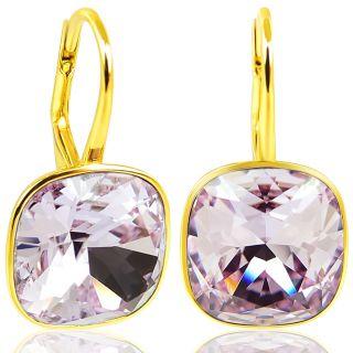 925 Ohrringe mit Kristallen von Swarovski® Gold Violett NOBEL SCHMUCK