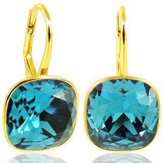925 Silber Ohrringe mit Kristallen von Swarovski® Gold Petrol Blau Türkis NOBEL SCHMUCK