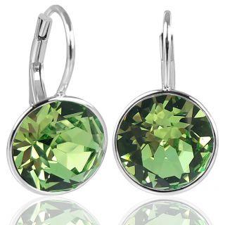 NOBEL SCHMUCK Silber-Ohrringe mit Markenkristallen 925 Sterling Silver - Peridot