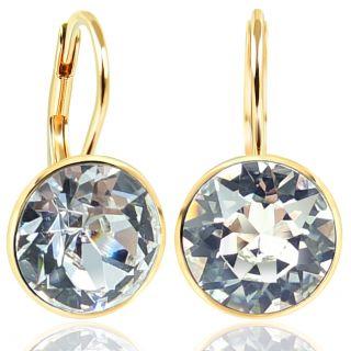 NOBEL SCHMUCK Ohrringe Gold mit Kristallen von Swarovski® 925 Sterling - schlicht modern