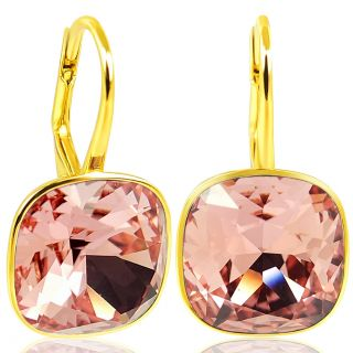 Gold Ohrringe 925 Silber mit Kristalle von Swarovski® Rosa Orange NOBEL SCHMUCK