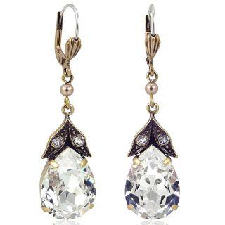 Nobel Goldene Vintage Ohrringe mit Kristallen von Swarovski®