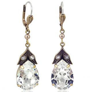Nobel Goldene Vintage Ohrringe mit Kristallen von Swarovski® Crystal