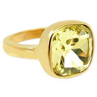 Damen-Ring Grün Gelb mit Markenkristall Gold von NOBEL SCHMUCK