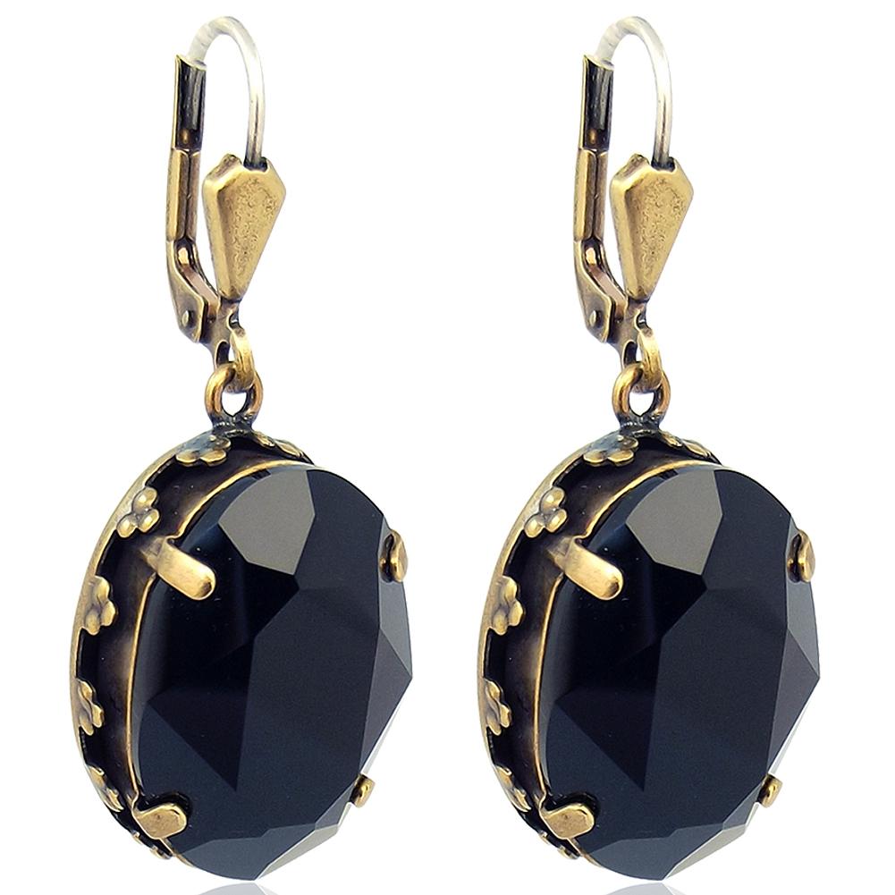 Jugendstil Ohrringe mit Kristallen von Swarovski® Schwarz