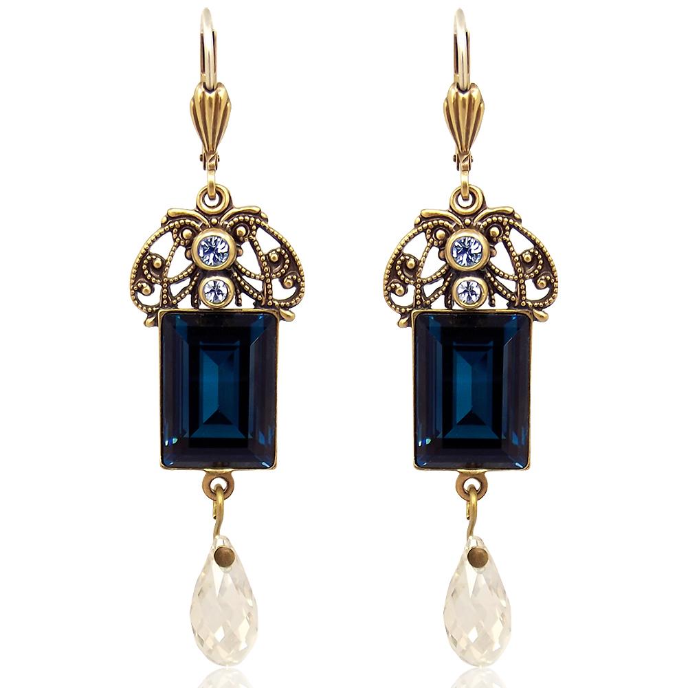 Modeschmuck ohrringe swarovski  Jugendstil Ohrringe mit Kristallen von Swarovski® Blau Gold NOBEL ...