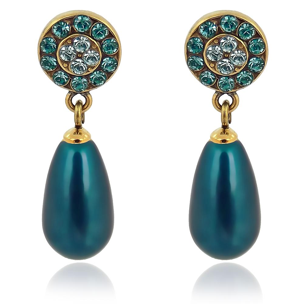 Perlenohrringe Mit Kristallen Von Swarovski Gold Blau Grun Petrol