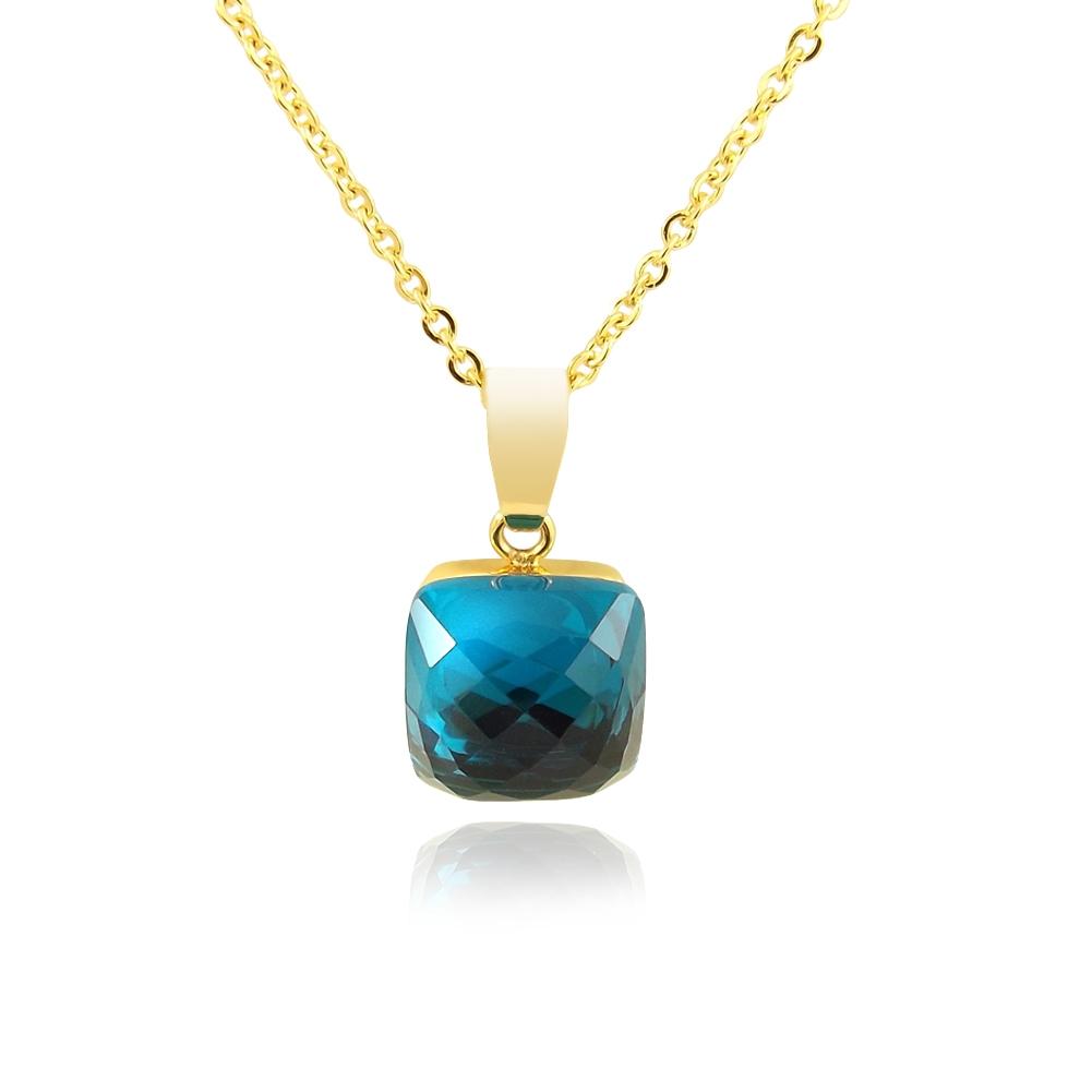 kette mit kristall von swarovski blau gold damen halskette nobel schmuck ebay. Black Bedroom Furniture Sets. Home Design Ideas