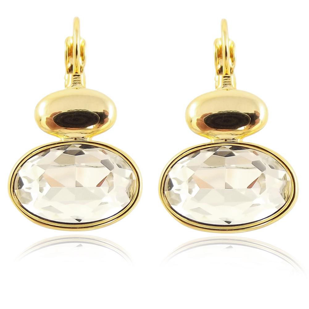 ohrringe mit kristallen von swarovski gold damen ohrh nger nobel schmuck ebay. Black Bedroom Furniture Sets. Home Design Ideas
