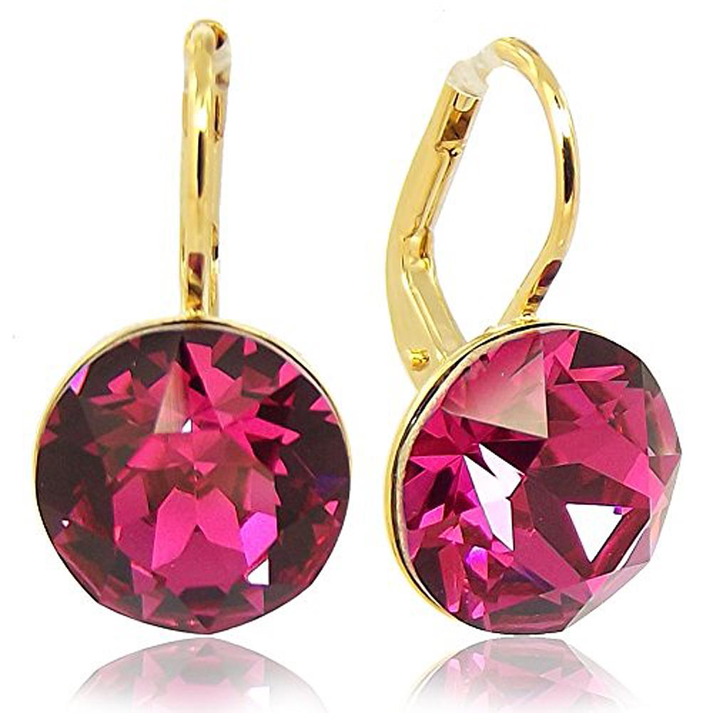ohrringe mit kristallen von swarovski pink gold fuchsia nobel schmuck ebay. Black Bedroom Furniture Sets. Home Design Ideas