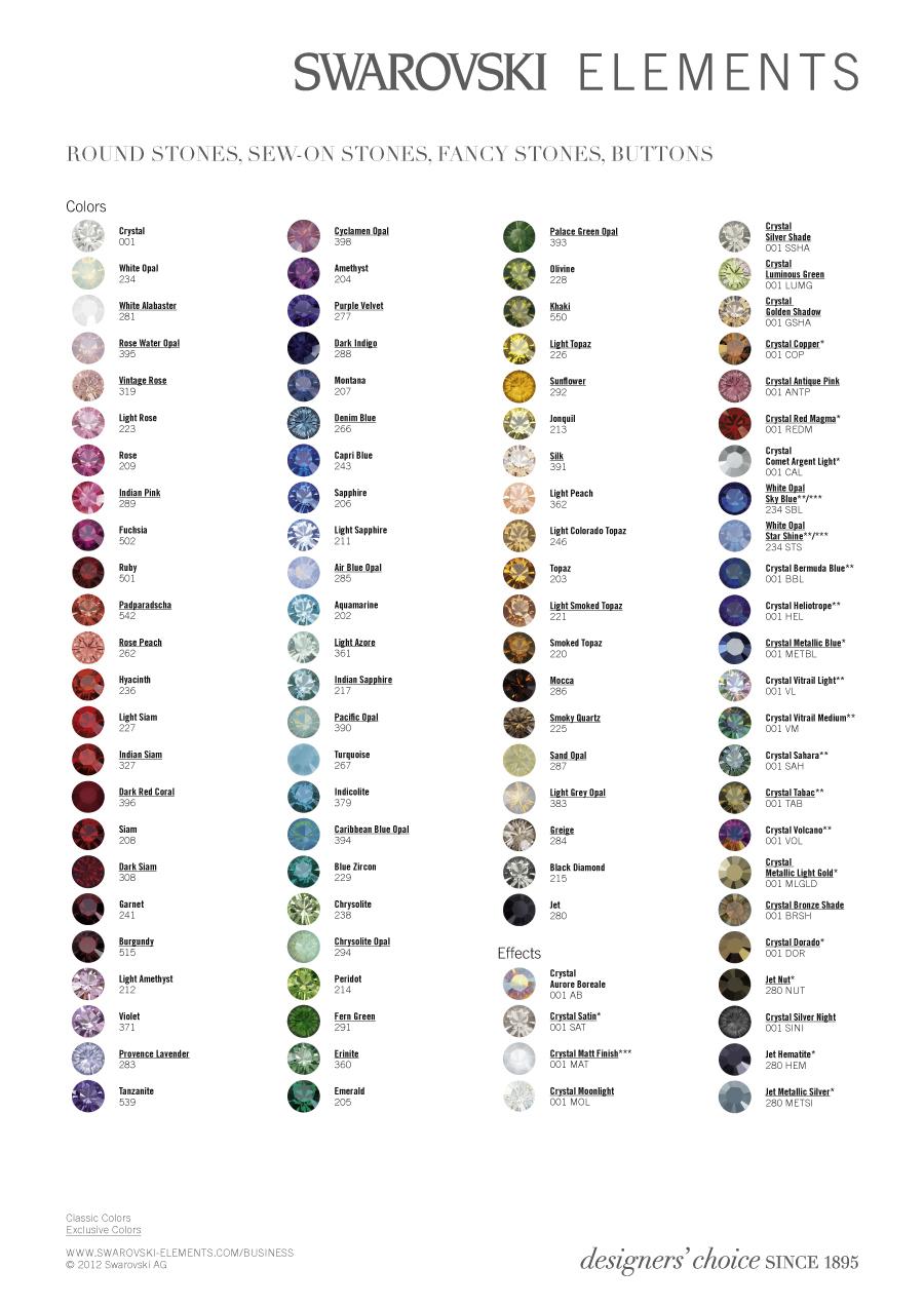 CRYSTALLIZED™ - Swarovski Elements Farbtabelle